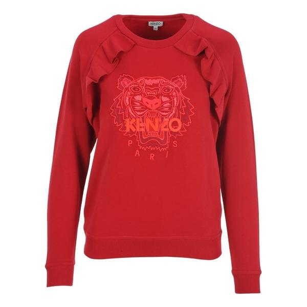 ケンゾー レディース パーカー・スウェットシャツ アウター Kenzo Tiger Ruffle Sweatshirt RED