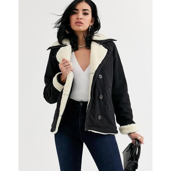 エイソス レディース ジャケット&ブルゾン アウター ASOS DESIGN denim aviator jacket with contrast fleece collar Washed black