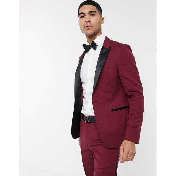 エイソス メンズ ジャケット&ブルゾン アウター ASOS DESIGN skinny tuxedo suit jacket in burgundy Burgundy