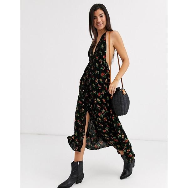 フリーピープル レディース ワンピース トップス Free People Venice floral print halterneck maxi dress Black combo