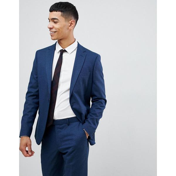モスブロス メンズ ジャケット&ブルゾン アウター Moss London skinny suit jacket with stretch Navy