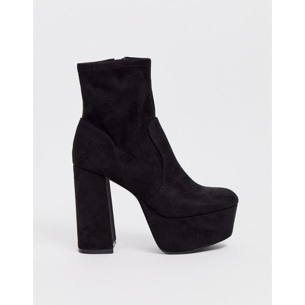 エイソス レディース ブーツ&レインブーツ シューズ ASOS DESIGN Entice platform sock boots in black Black