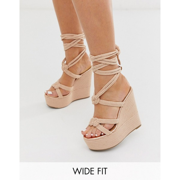 エイソス レディース サンダル シューズ ASOS DESIGN Wide Fit Will Power tie leg rope wedges in rose gold Rose gold