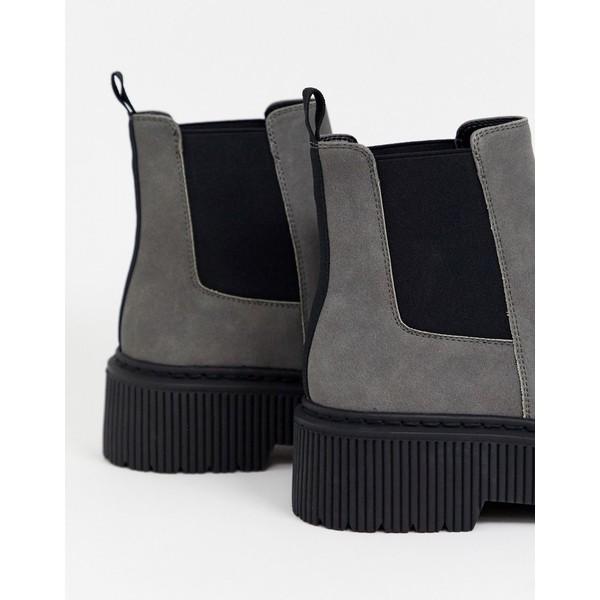 エイソス メンズ ブーツ&レインブーツ シューズ ASOS DESIGN chelsea boots in gray faux suede with chunky sole Gray