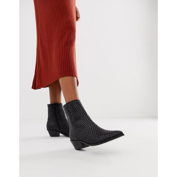 エイソス レディース ブーツ&レインブーツ シューズ ASOS DESIGN Austin leather woven boots Black