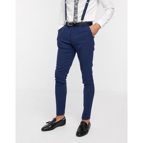 エイソス メンズ カジュアルパンツ ボトムス ASOS DESIGN wedding super skinny suit pants in blue wool blend micro houndstooth Blue