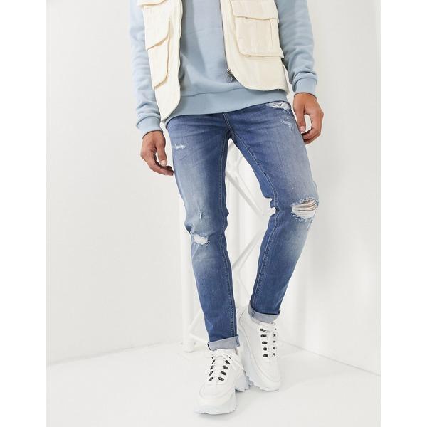 エイソス メンズ デニムパンツ ボトムス ASOS DESIGN skinny jeans in mid wash blue with rips and destroy Mid wash blue