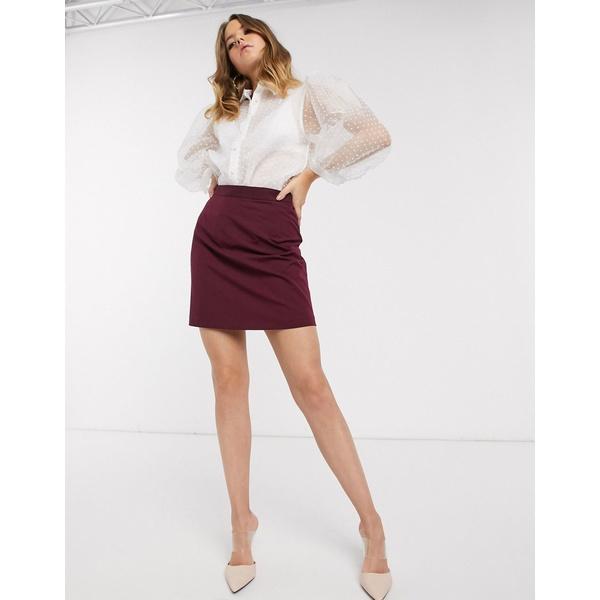 エイソス レディース スカート ボトムス ASOS DESIGN tailored a line mini skirt Purple0PXnwOkN8