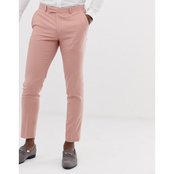モスブロス メンズ カジュアルパンツ ボトムス Moss London slim suit pants in dusty pink Pink