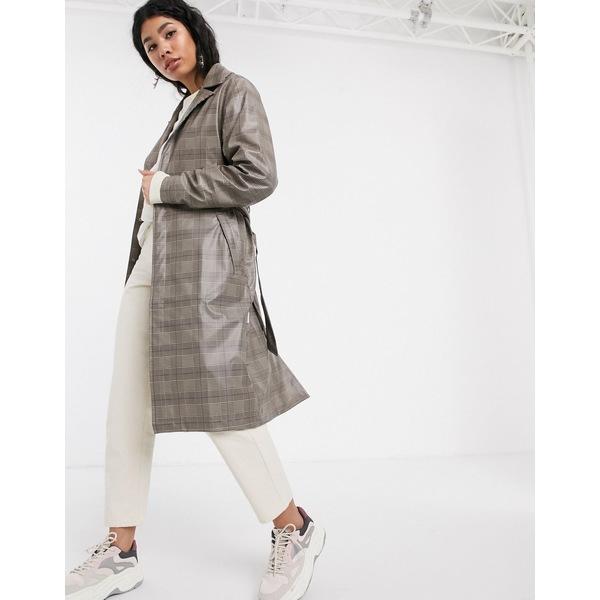 レインズ レディース コート アウター Rains check belted waterproof overcoat Check beige