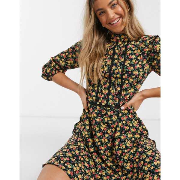 オアシス レディース ワンピース トップス Oasis lace trim skater dress in ditsy floral print Multi