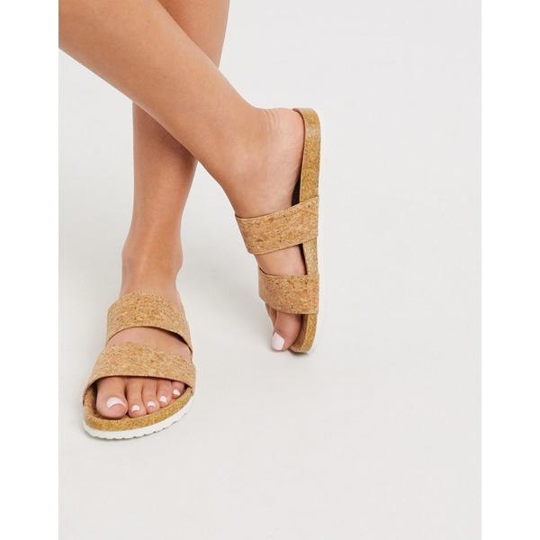 エイソス レディース サンダル シューズ ASOS DESIGN Fraser double strap mule sandal in cork Cork