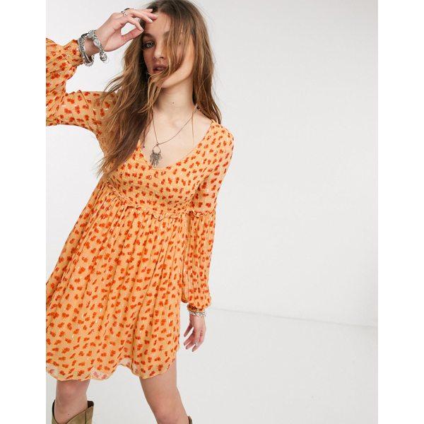 フリーピープル レディース トップス ワンピース Orange 全商品無料サイズ交換 フリーピープル レディース ワンピース トップス Free People maria floral shirred mini dress Orange