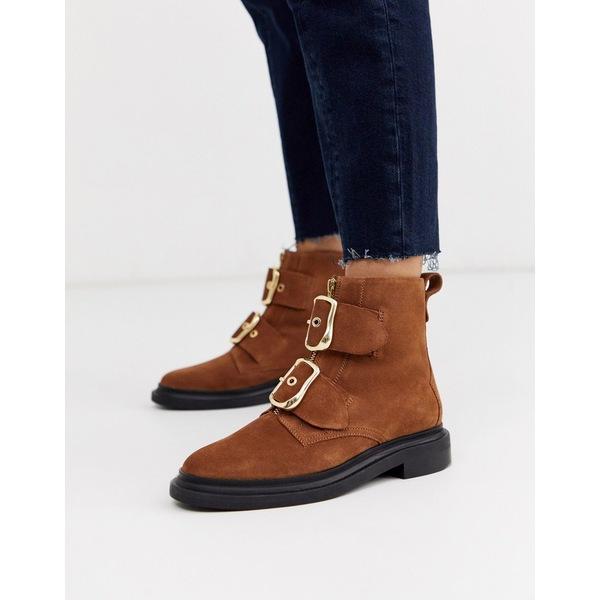 エイソス レディース ブーツ&レインブーツ シューズ ASOS DESIGN Attribute premium suede hardware boots in tan Tan suede