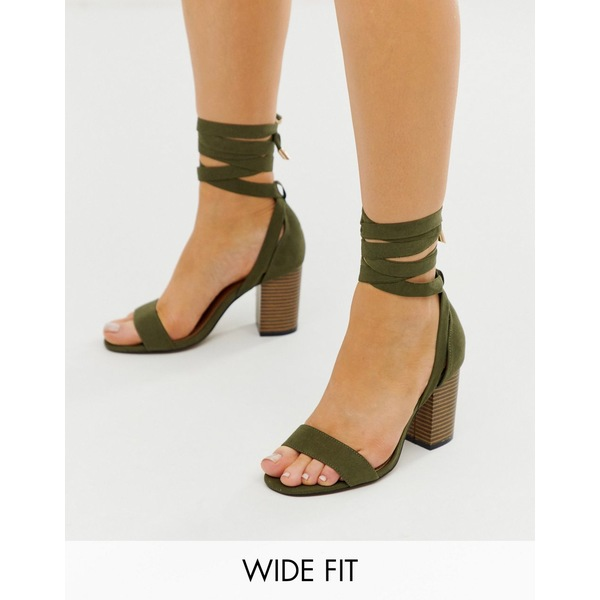 エイソス レディース サンダル シューズ ASOS DESIGN Wide Fit Howling tie leg heeled sandals in khaki Khaki