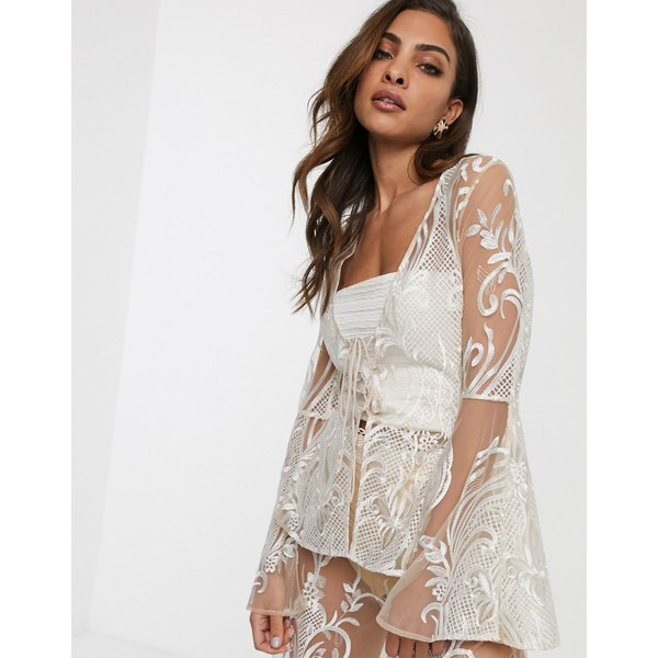 エイソス レディース ジャケット&ブルゾン アウター ASOS DESIGN embroidered jacket two-piece with lace up detail Blush and white