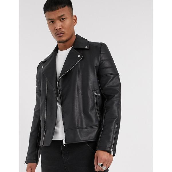 エイソス メンズ ジャケット&ブルゾン アウター ASOS DESIGN biker jacket in black faux leather Black