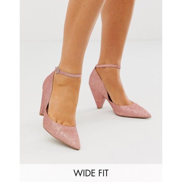 エイソス レディース ヒール シューズ ASOS DESIGN Wide Fit Speak Out pointed mid-heels in pink glitter Pink glitter