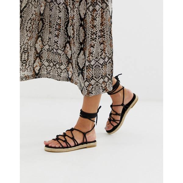 エイソス レディース スリッポン・ローファー シューズ ASOS DESIGN Jester knotted espadrille sandals Black