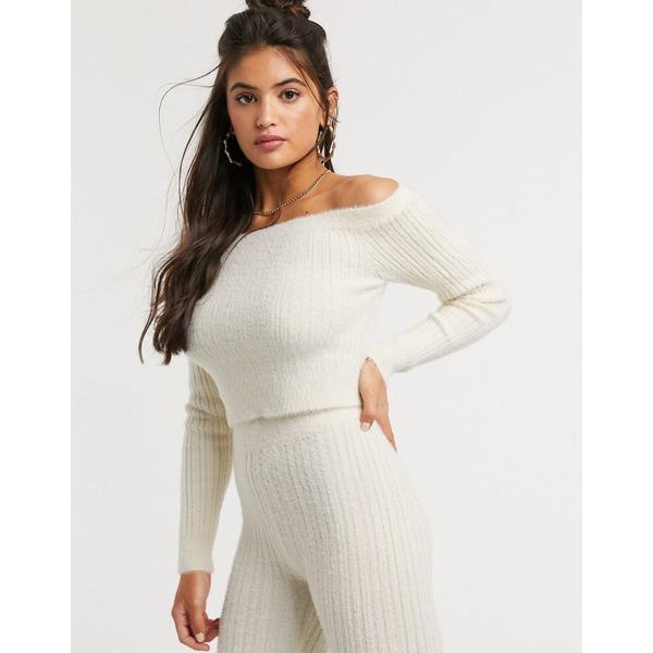 エイソス レディース ニット&セーター アウター ASOS DESIGN two-piece off shoulder ribbed sweater in fluffy yarn Cream