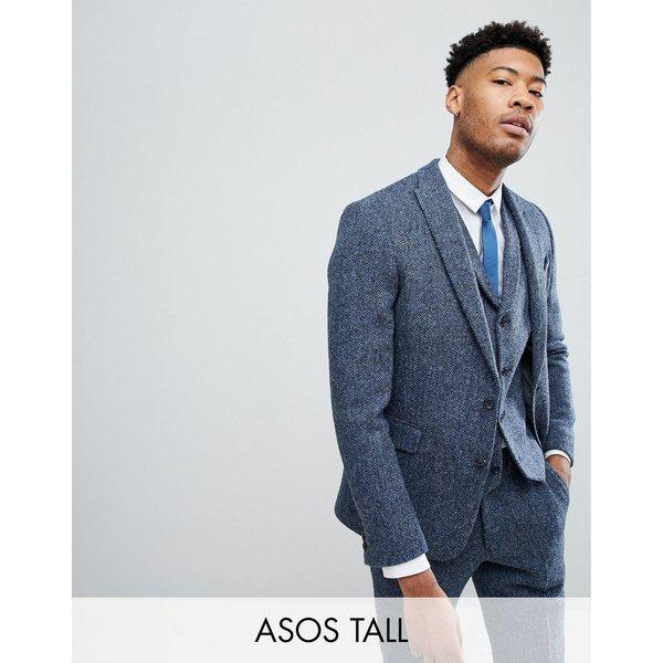 エイソス メンズ ジャケット&ブルゾン アウター ASOS TALL Slim Suit Jacket in 100% Wool Harris Tweed In Blue Mini Check Blue