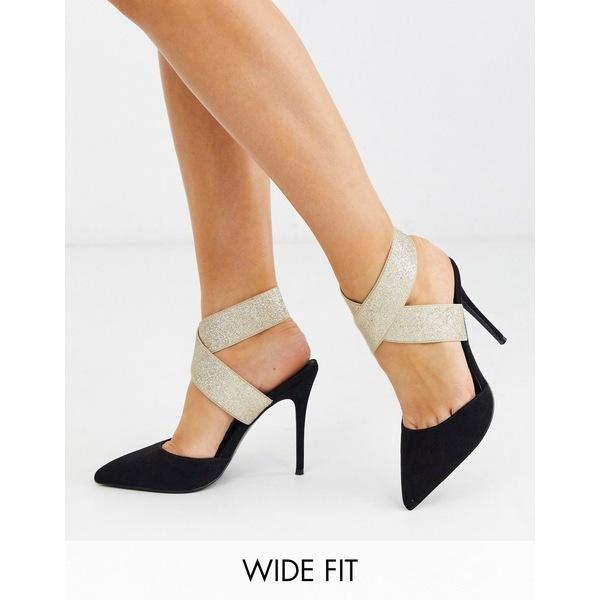 エイソス レディース ヒール シューズ ASOS DESIGN Wide Fit Payback elastic high heels black and gold Black/gold
