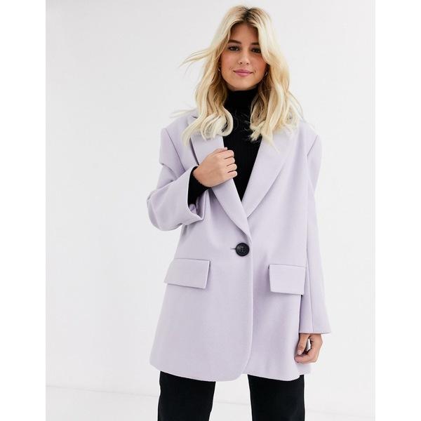 エイソス レディース コート アウター ASOS DESIGN grandad coat in lilac Lilac