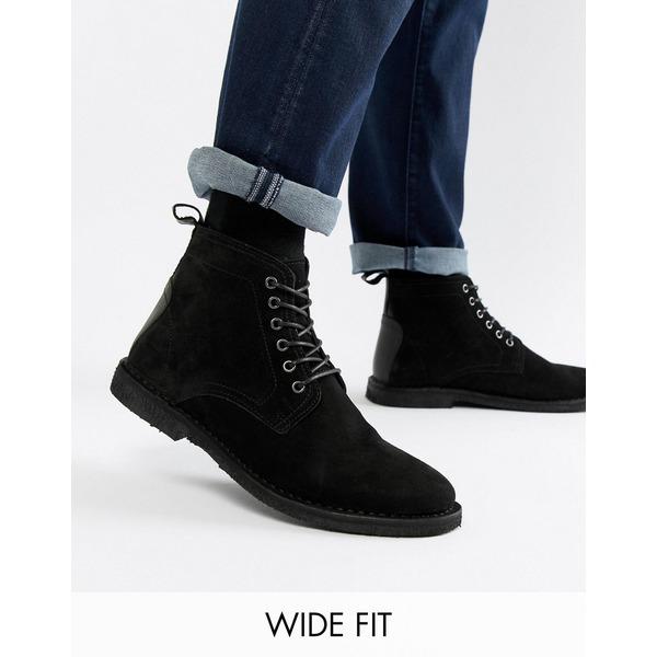 エイソス メンズ ブーツ&レインブーツ シューズ ASOS DESIGN Wide Fit desert boots in black suede with leather detail Black
