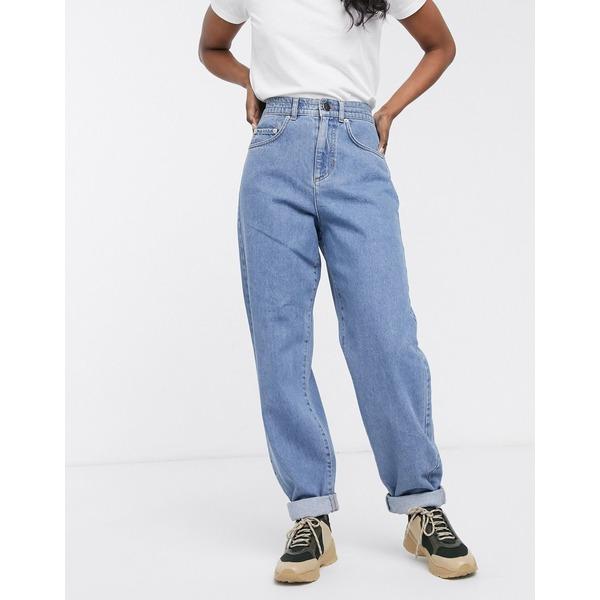 エイソス レディース デニムパンツ ボトムス ASOS DESIGN jogger jeans with elasticated waist in mid wash blue Blue