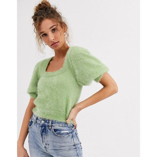 エイソス レディース ニット&セーター アウター ASOS DESIGN square neck fluffy sweater with short sleeve Pistachio