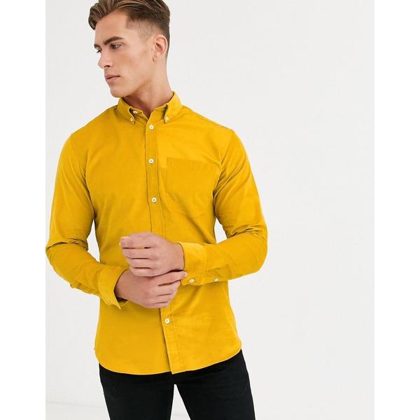 セレクテッドオム メンズ シャツ トップス Selected Homme slim fit needle cord patch detail shirt in yellow Honey