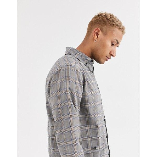 エイソス メンズ シャツ トップス ASOS DESIGN Two-piece overshirt in smart check Gray