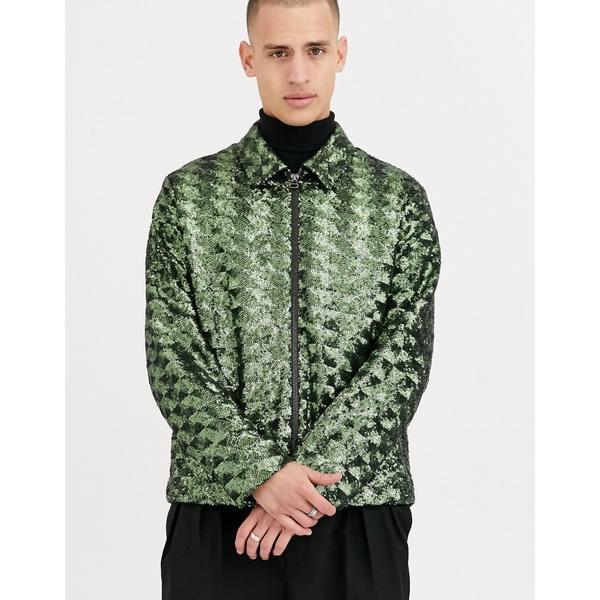 エイソス メンズ ジャケット&ブルゾン アウター ASOS DESIGN harrington jacket in green sequin Green