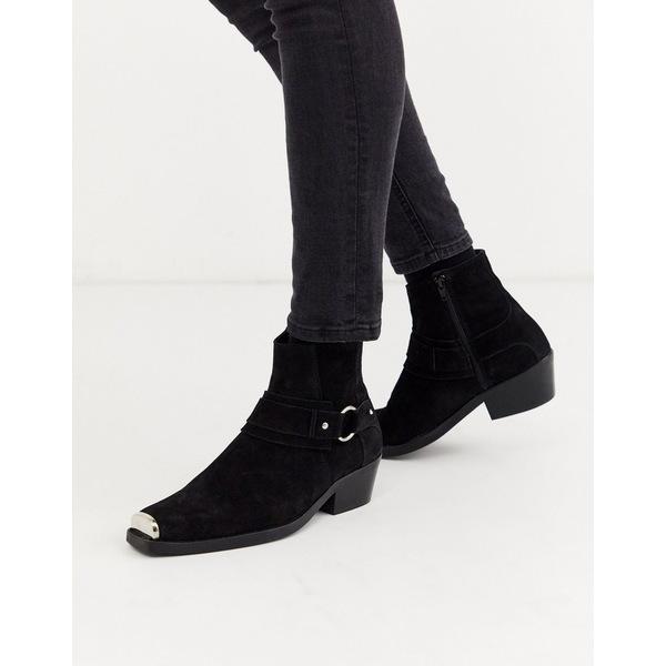 エイソス メンズ ブーツ&レインブーツ シューズ ASOS DESIGN stacked heel western chelsea boots in black suede with square toe and hardware detail Black