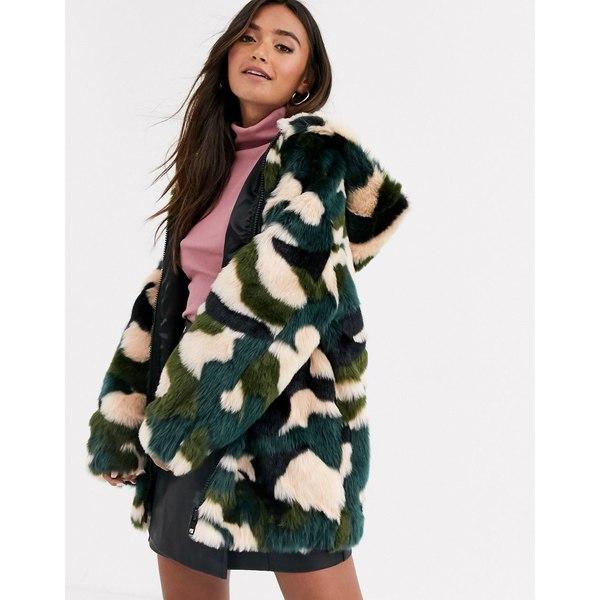 エイソス レディース ジャケット&ブルゾン アウター ASOS DESIGN camo faux fur zip through jacket Multi
