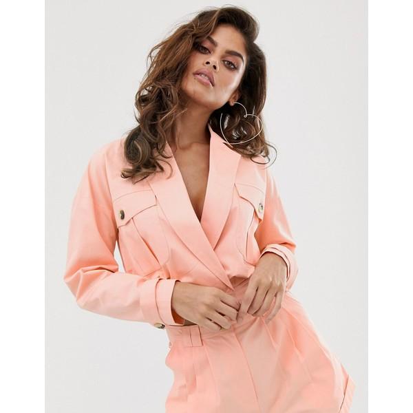 エイソス レディース ジャケット&ブルゾン アウター ASOS DESIGN washed pink linen cropped suit blazer Pink