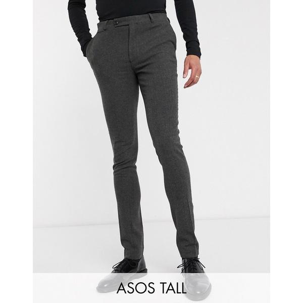 エイソス メンズ カジュアルパンツ ボトムス ASOS DESIGN Tall wedding super skinny suit pants in wool mix herringbone in charcoal Charcoal