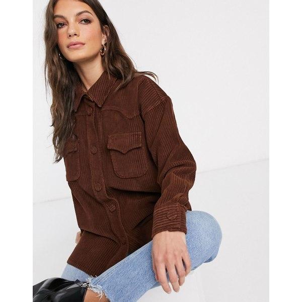 エイソス レディース シャツ トップス ASOS DESIGN cord oversized shirt in chestnut brown Chesnut
