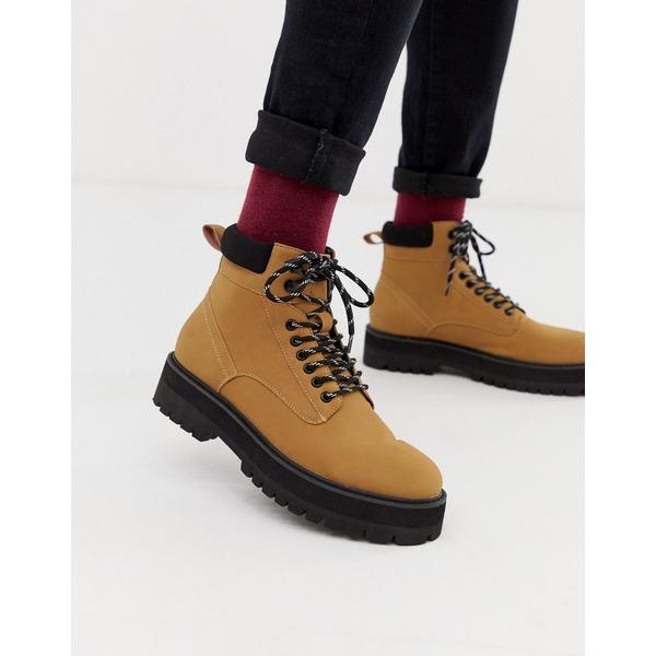 エイソス メンズ ブーツ&レインブーツ シューズ ASOS DESIGN lace up boots in tan faux leather with contrast black sole Tan