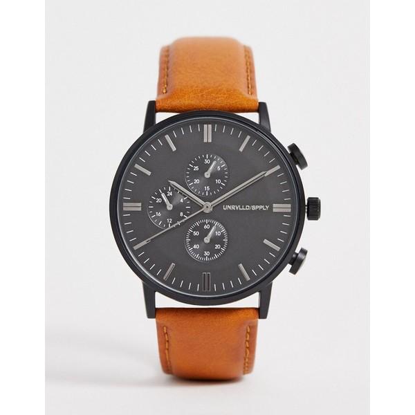 エイソス メンズ 腕時計 アクセサリー ASOS DESIGN watch with sub dial detail in brown Brown
