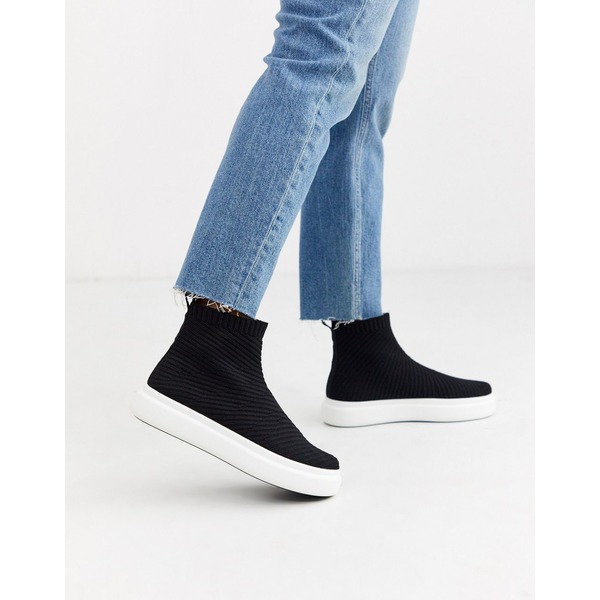 エイソス レディース スニーカー シューズ ASOS DESIGN Dublin knitted sneakers in black Black