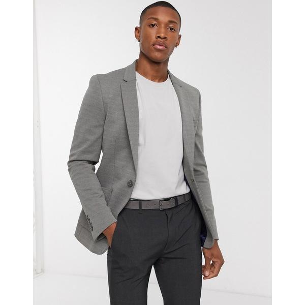 エイソス メンズ ジャケット&ブルゾン アウター ASOS DESIGN super skinny pique jersey blazer in gray Green