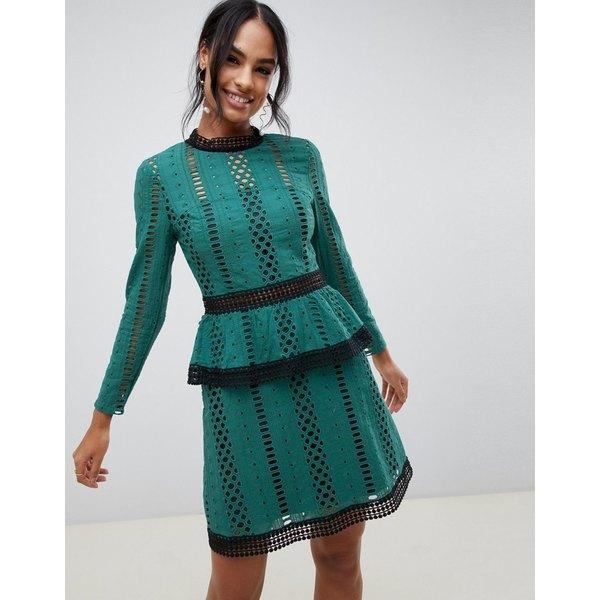エイソス レディース ワンピース トップス ASOS DESIGN tiered broderie mini skater dress Green