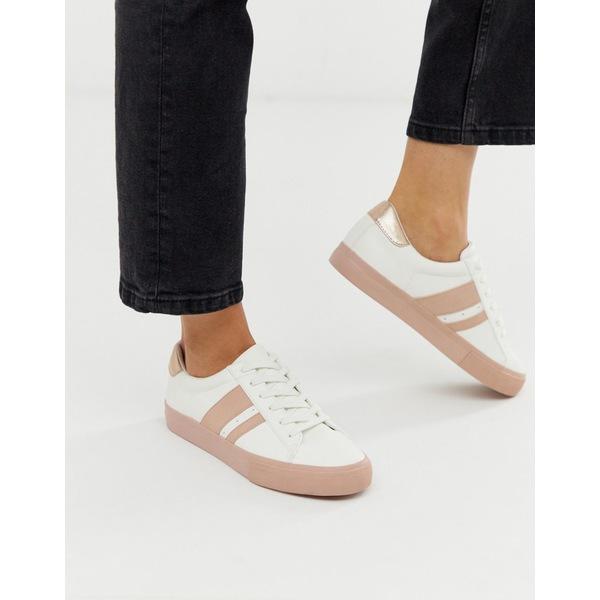 エイソス レディース スニーカー シューズ ASOS DESIGN Defeat sneakers in white and pink White/pink