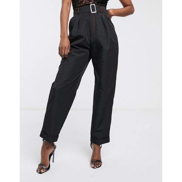 エイソス レディース カジュアルパンツ ボトムス ASOS DESIGN belted pants in shell fabric with contrast stitching Black
