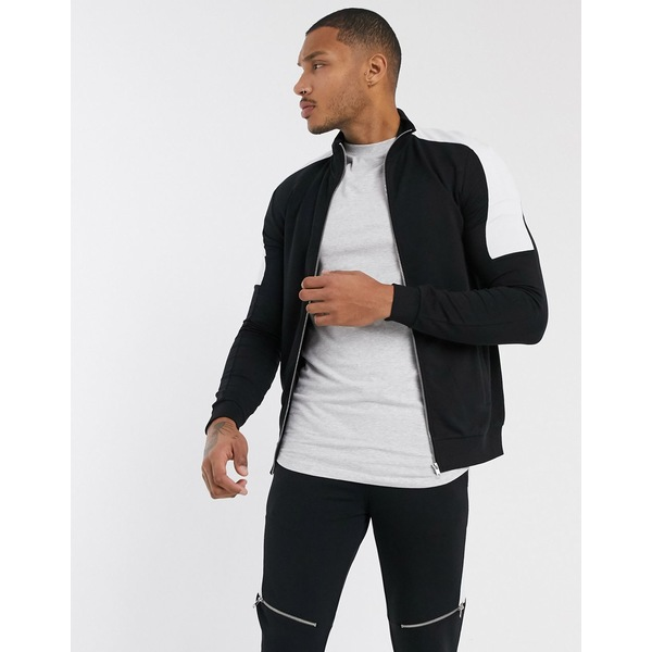 エイソス メンズ ジャケット&ブルゾン アウター ASOS DESIGN two-piece muscle fit jersey track jacket in black with white side stripes Black