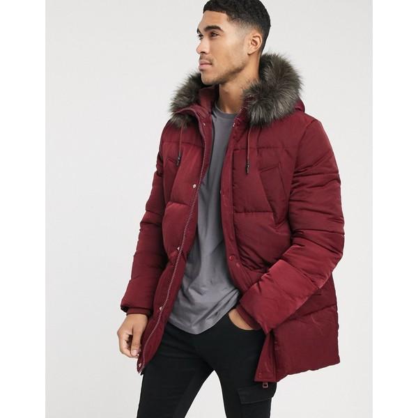 エイソス メンズ ジャケット&ブルゾン アウター ASOS DESIGN puffer parka jacket in burgundy with faux fur hood Burgundy