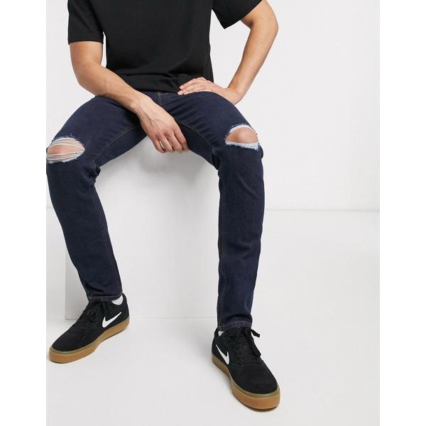 エイソス メンズ デニムパンツ ボトムス ASOS DESIGN skinny jeans in indigo with busted knees Indigo