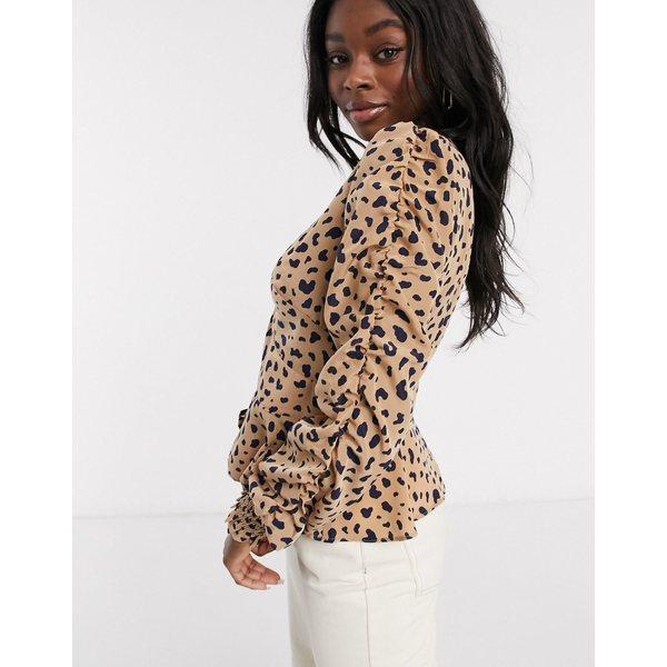イーストオーダー レディース シャツ トップス The East Order Scarlett leopard print blouse Animal polka