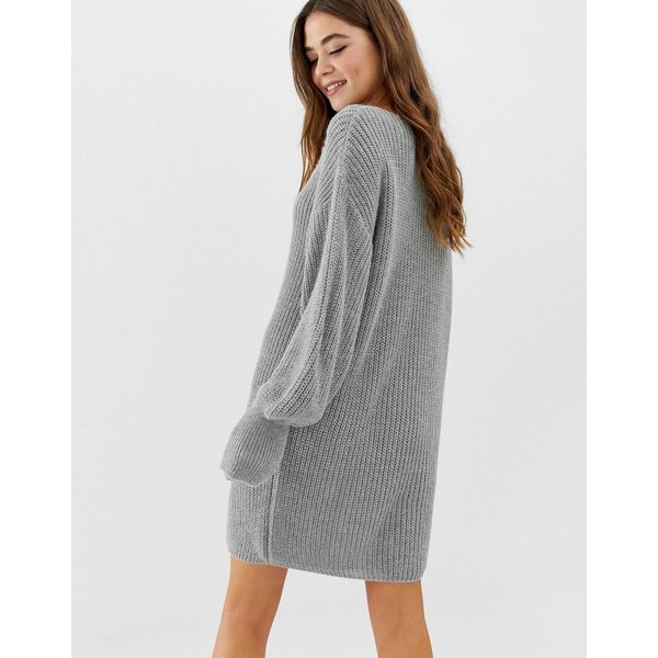 エイソス レディース ワンピース トップス ASOS DESIGN v neck mini dress with volume sleeve Gray marl